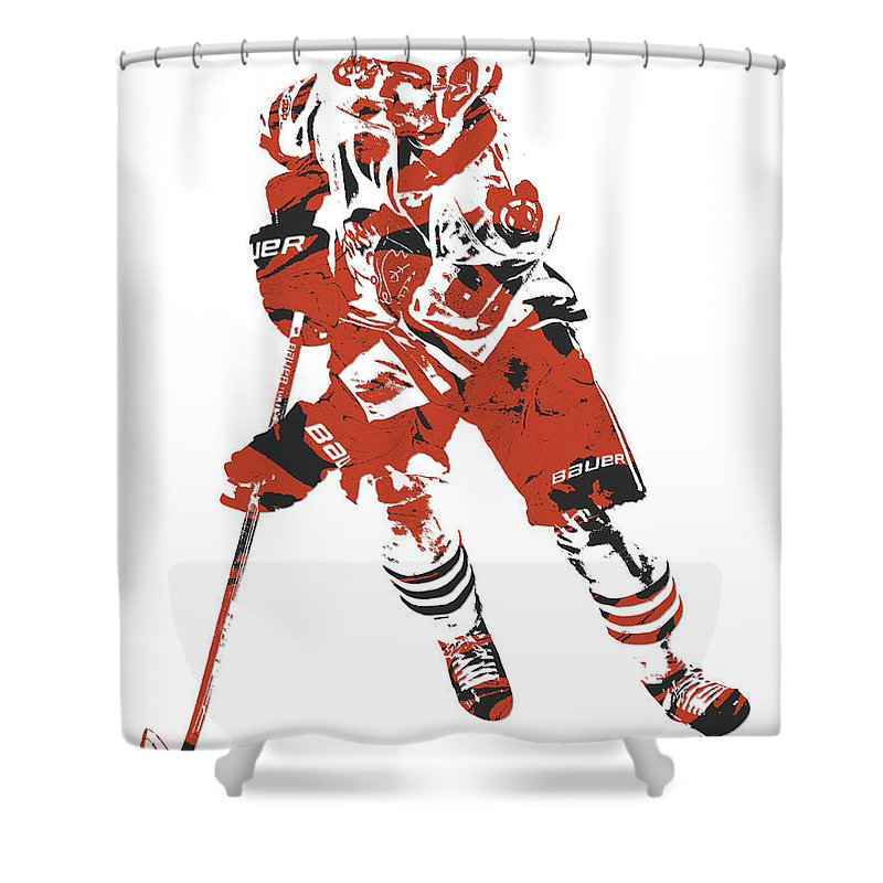 Patrick Kane Shower Curtain Featuring The Mixed Media Chicago Blackhawks Pixel Art 5 By