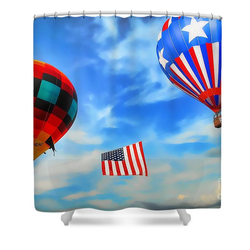 Hot Air Balloon Shower Curtain featuring the photograph Patriotic Flight by Dyle  Warren