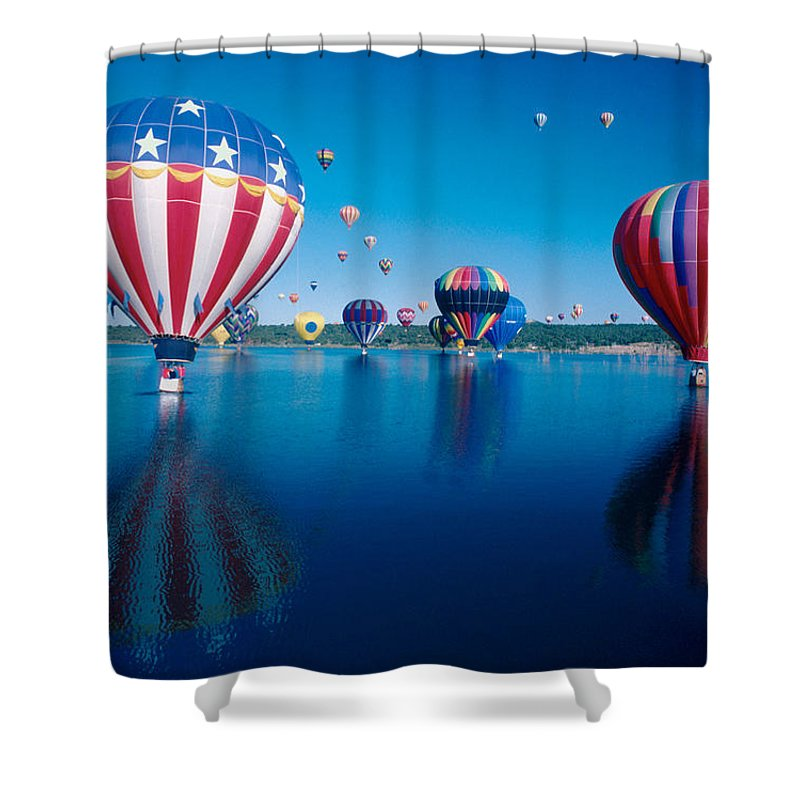 Hot Air Balloons Shower Curtain featuring the photograph Patriotic Hot Air Balloon by Jerry McElroy