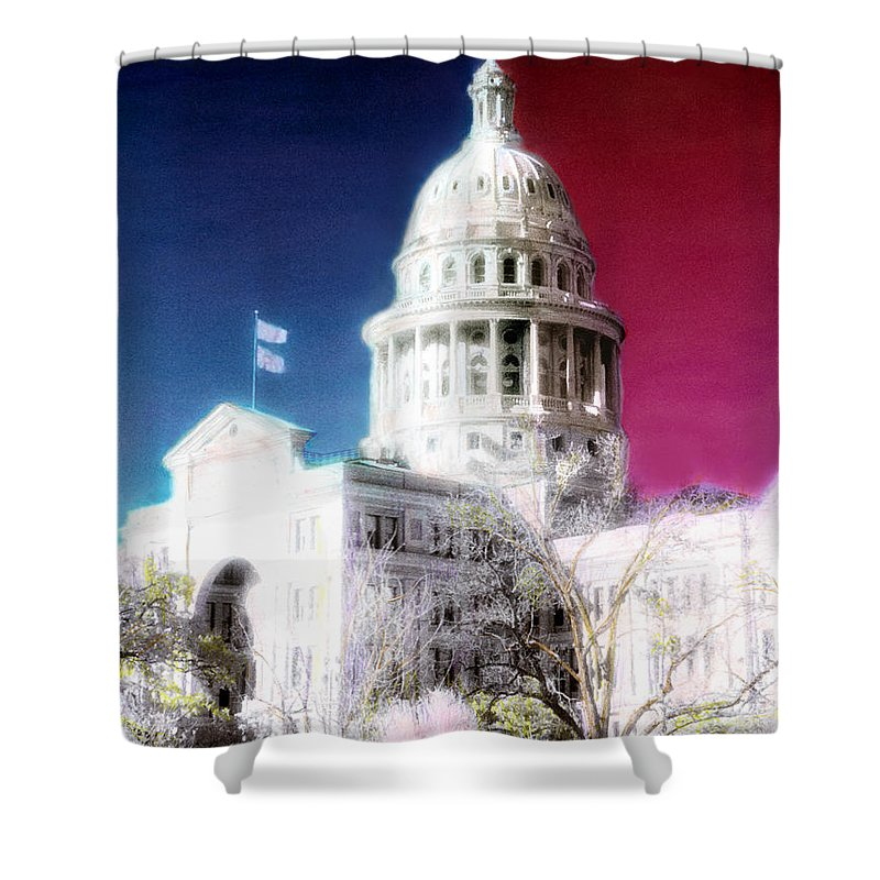 Americana Shower Curtain featuring the photograph Patriotic Texas Capitol by Marilyn Hunt