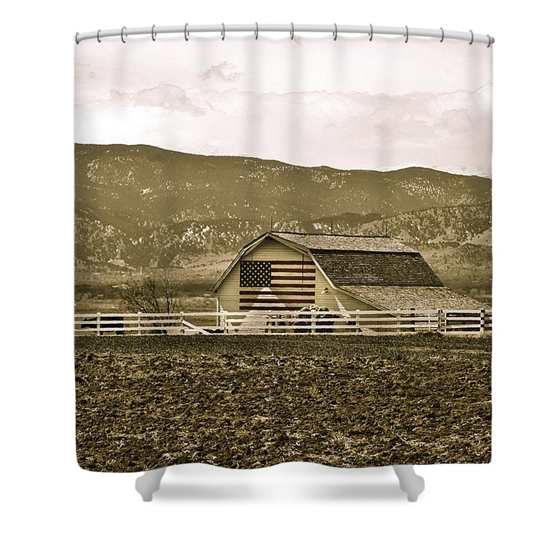 Americana Shower Curtain featuring the photograph Patriotism And Barn by Marilyn Hunt