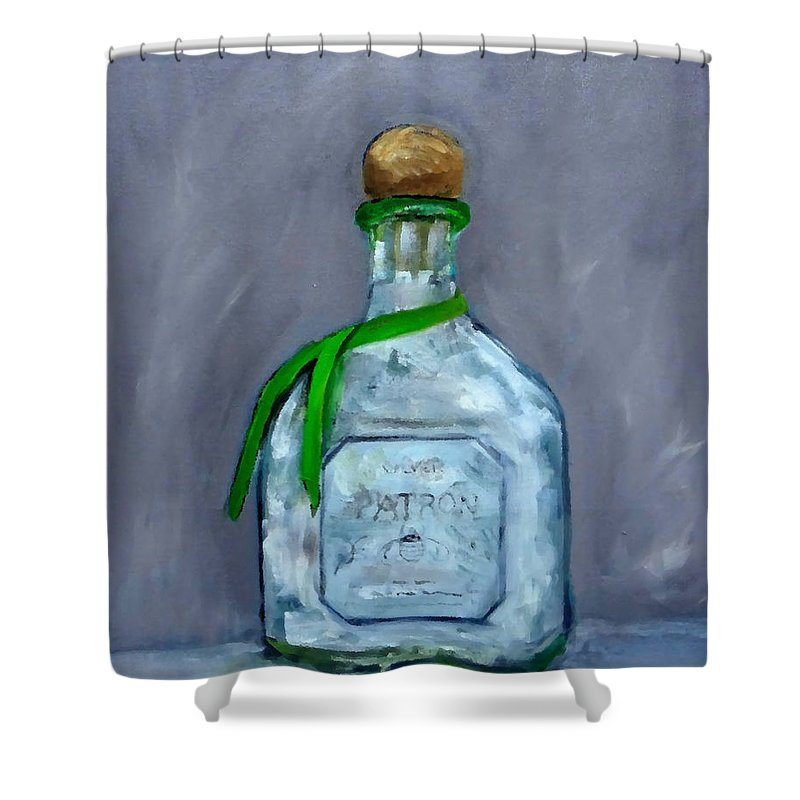 Man Cave Shower Curtain Featuring The Painting Patron Silver Tequila Bottle By Katy Hawk