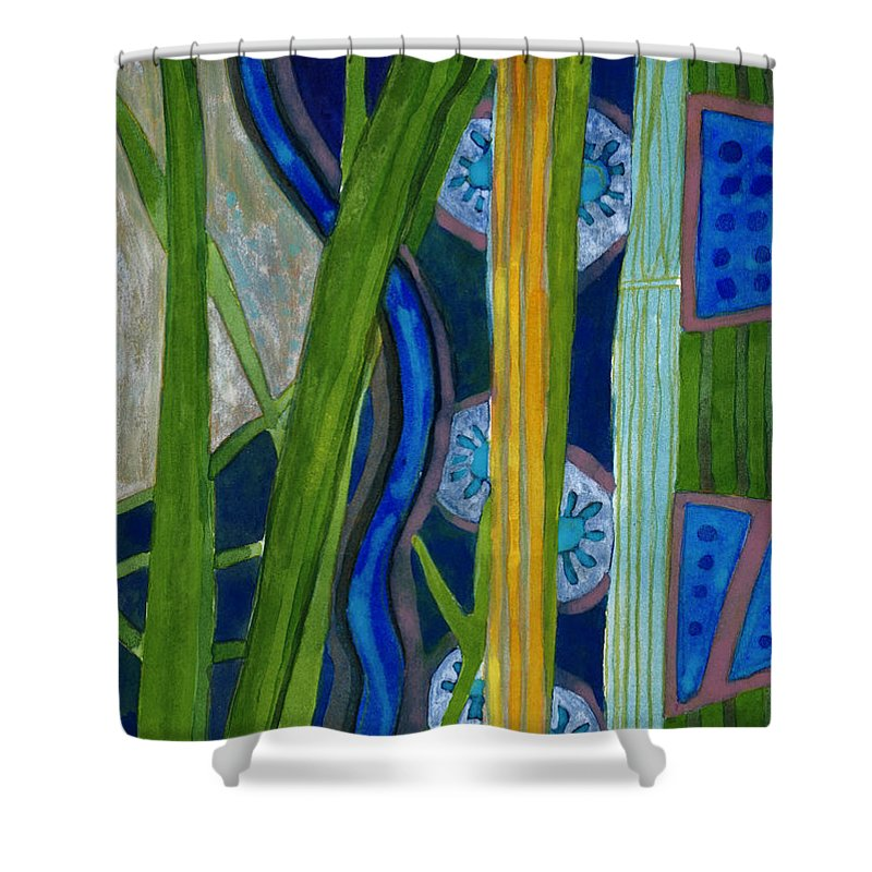 Blue Shower Curtain featuring the painting Pattern Out Of Grass And Stems And More by Heidi Capitaine