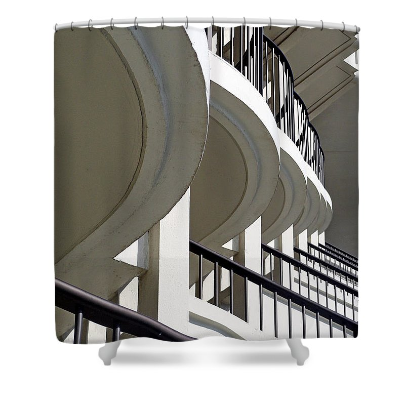 Balconies Shower Curtain featuring the photograph Patterned Balconies by Robert Meyers-Lussier