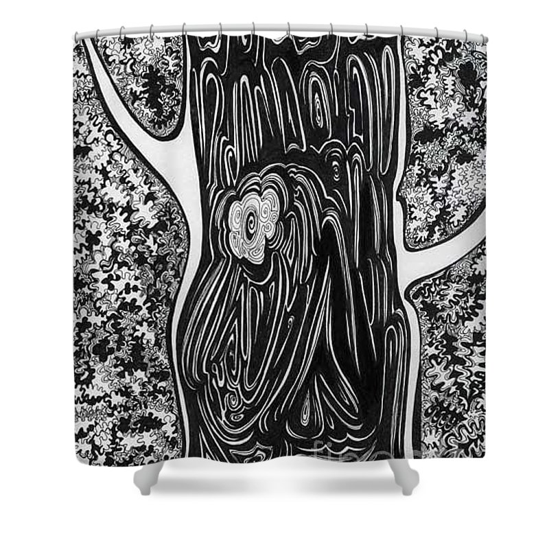 Trees Shower Curtain featuring the drawing Patterns Of Autumn by Anna Duyunova