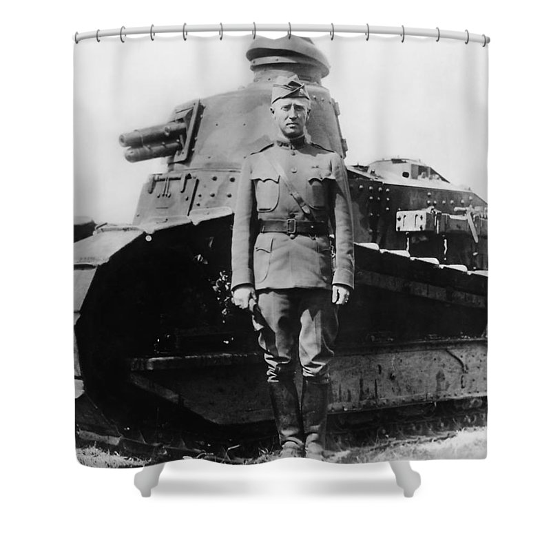 George Patton Shower Curtain featuring the photograph Patton Beside a Renault Tank - WWI by War Is Hell Store
