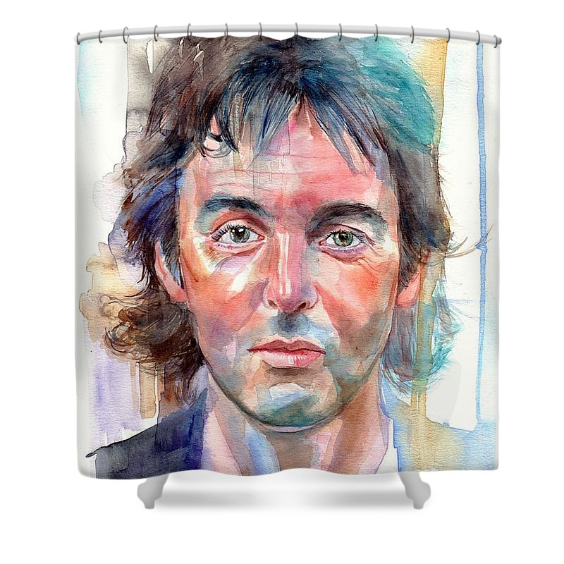 Paul Shower Curtain Featuring The Painting Mccartney Young Portrait By Suzanns Art