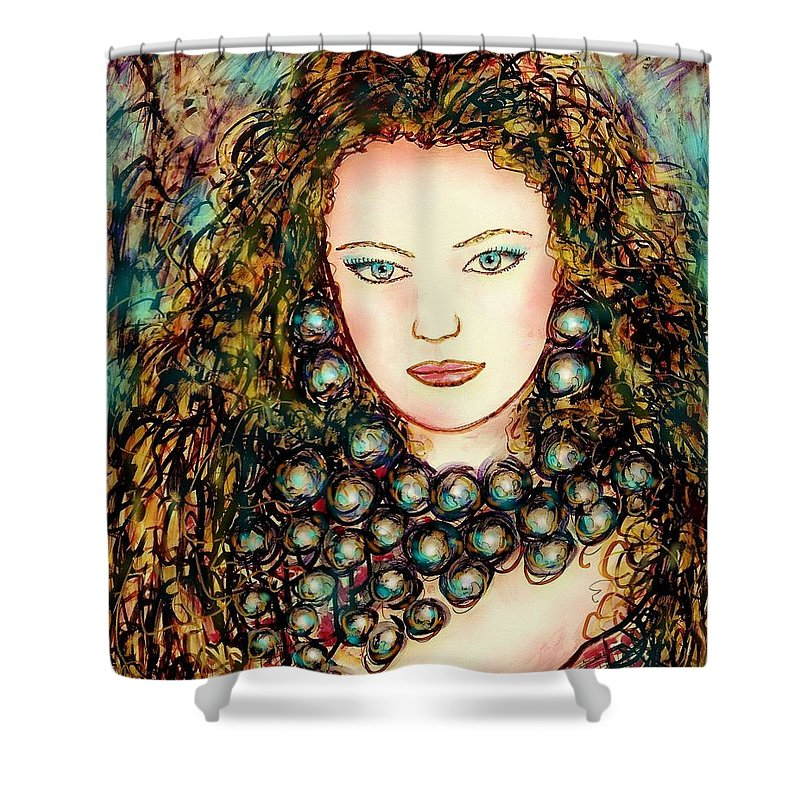 Woman Shower Curtain featuring the painting Paula by Natalie Holland