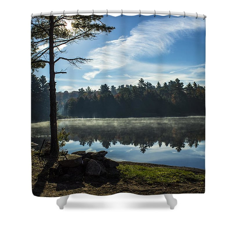 Lake Shower Curtain featuring the photograph Pauper Lake Morning by Spencer Bush