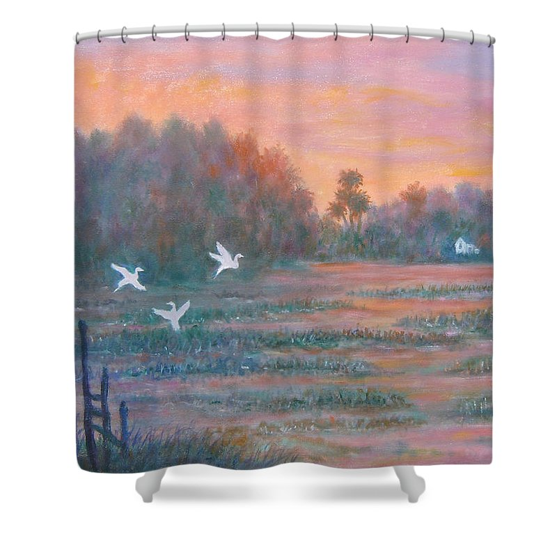Low Country; Egrets; Sunset Shower Curtain featuring the painting Pawleys Island by Ben Kiger