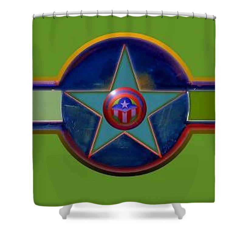 Usaaf Insignia Shower Curtain featuring the digital art Pax Americana Decal by Charles Stuart