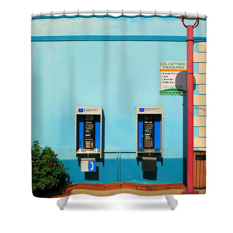 Pay Shower Curtain featuring the photograph Pay Phones by Perry Webster