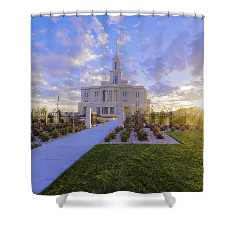 Payson Shower Curtain featuring the photograph Payson Temple I by Chad Dutson