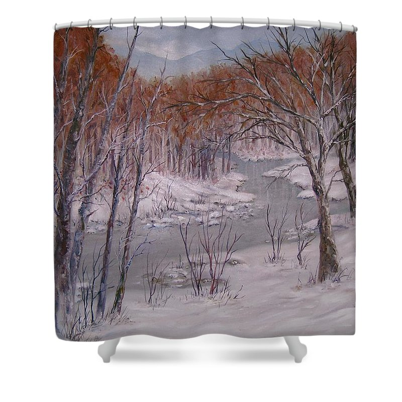 Peace Project Shower Curtain featuring the painting Peace And Quiet by Ben Kiger
