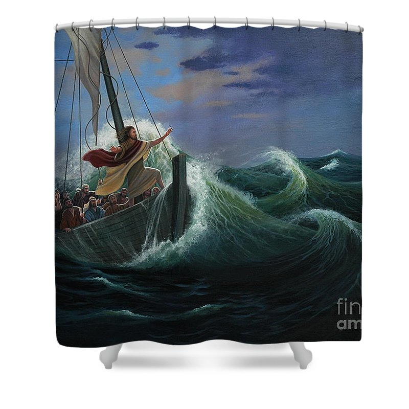 Bible Shower Curtain featuring the painting Peace Be Still by Michael Nowak