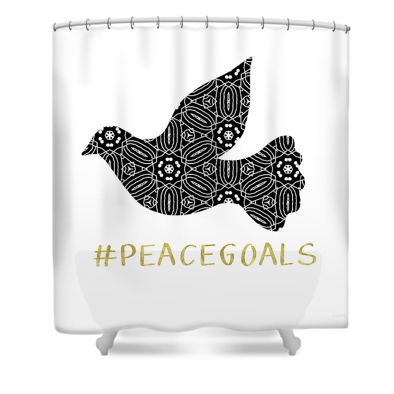 Peace Shower Curtain Featuring The Digital Art Goals By Linda Woods