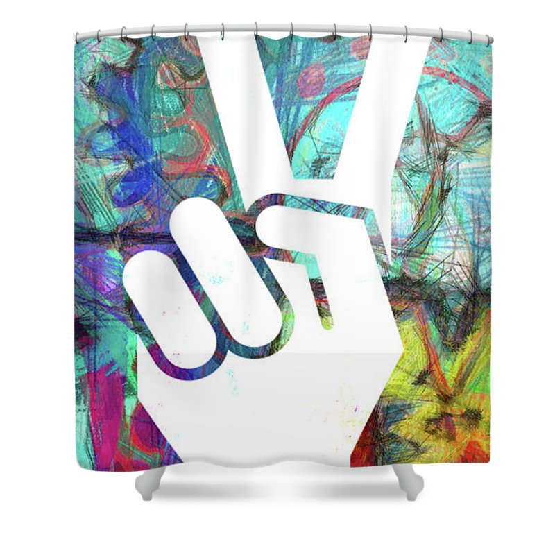 Peace Shower Curtain featuring the digital art Peace Hand Sign 1 by Edward Fielding