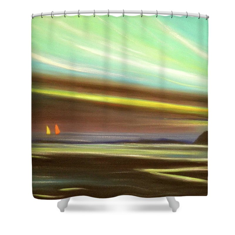Brown Shower Curtain featuring the painting Peace Is Colorful by Gina De Gorna