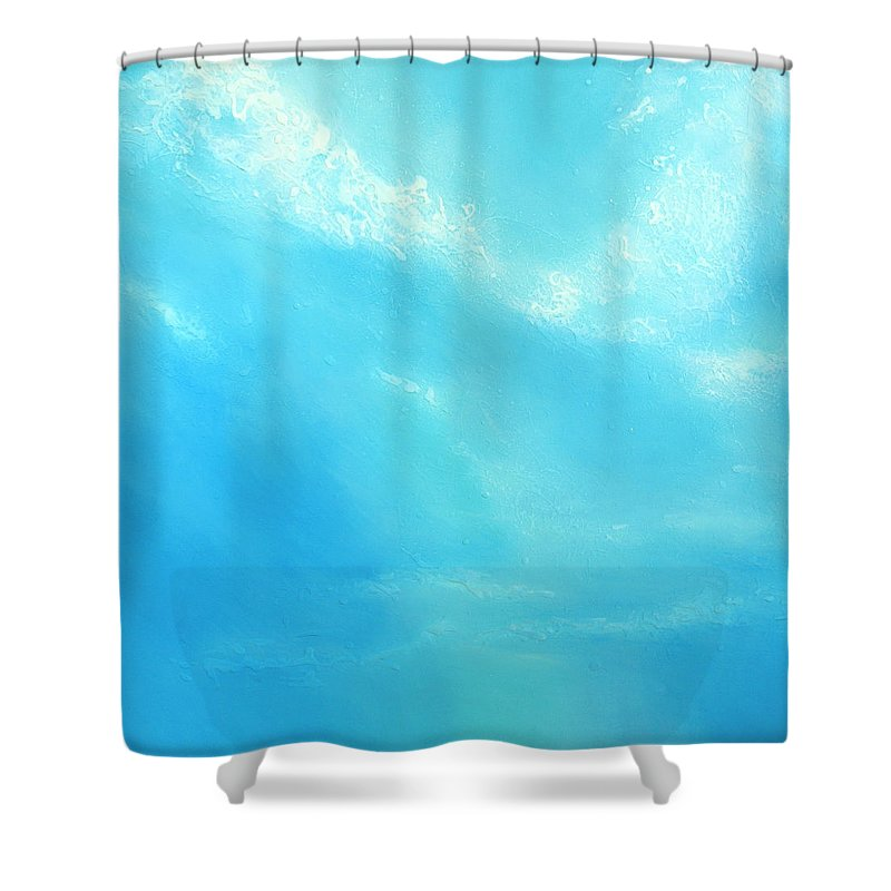 Blue Shower Curtain featuring the painting Peace by Jaison Cianelli