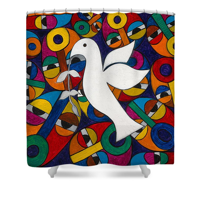 Dove Shower Curtain featuring the painting Peace On Earth by Emeka Okoro
