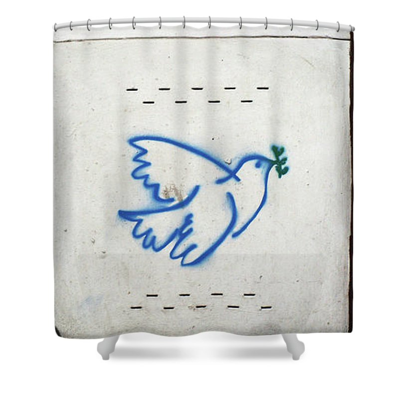 Graffiti Shower Curtain featuring the painting Peace by Roger Muntes