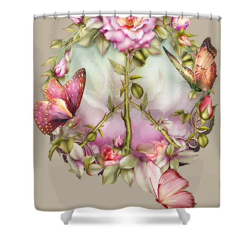Rose Shower Curtain featuring the mixed media Peace Rose by Carol Cavalaris