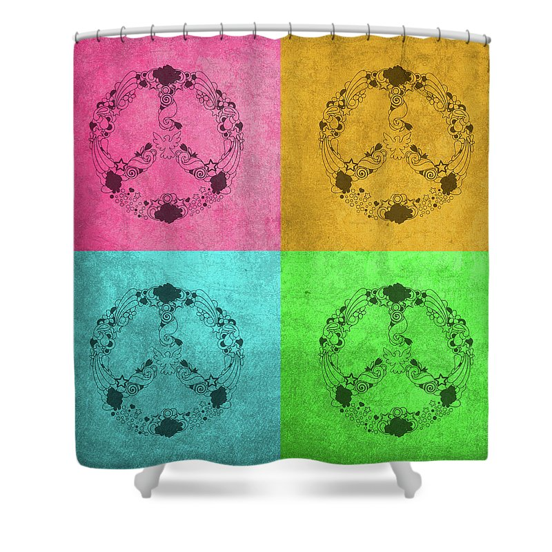 Peace Sign Shower Curtain Featuring The Mixed Media Flower Child Pop Art Color Quadrants