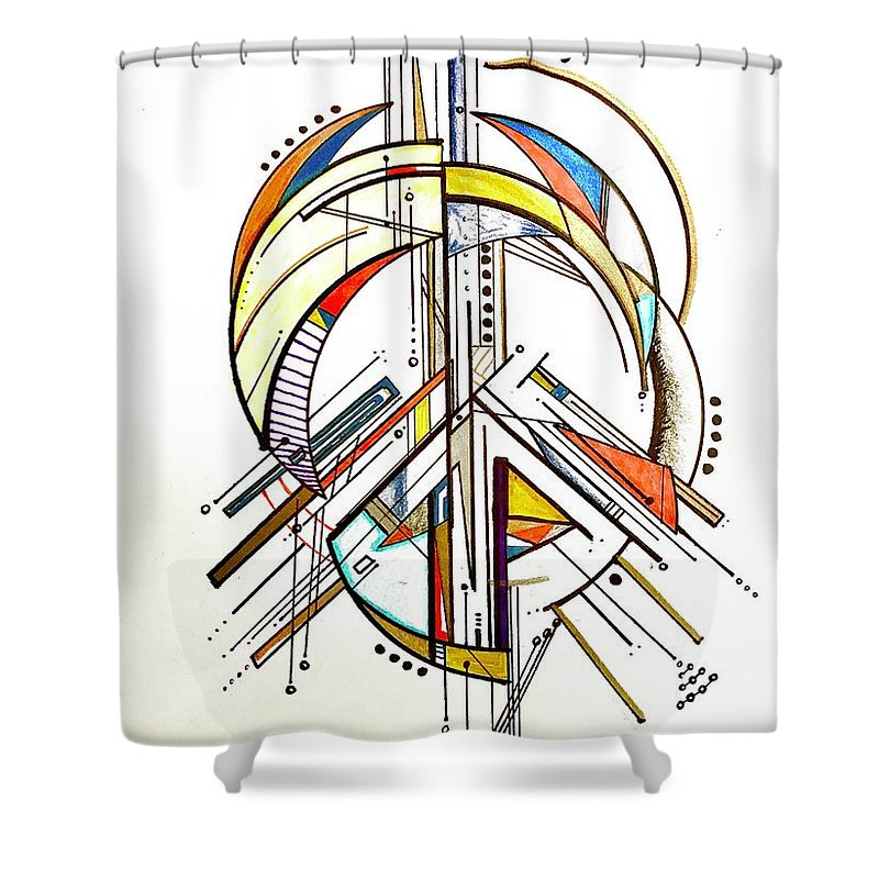 Peace Sign Shower Curtain Featuring The Drawing By Jorge Vales