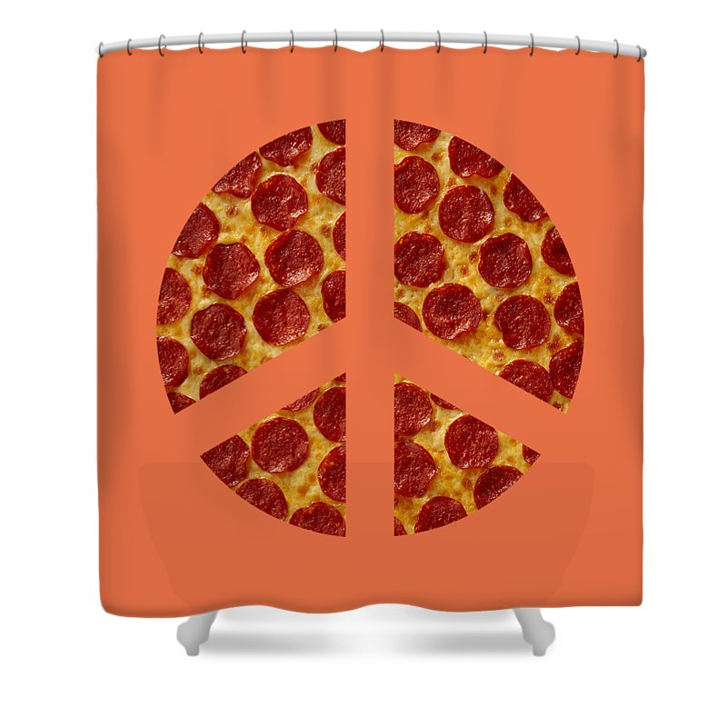 Peace Shower Curtain Featuring The Digital Art Sign Pizza By David G Paul