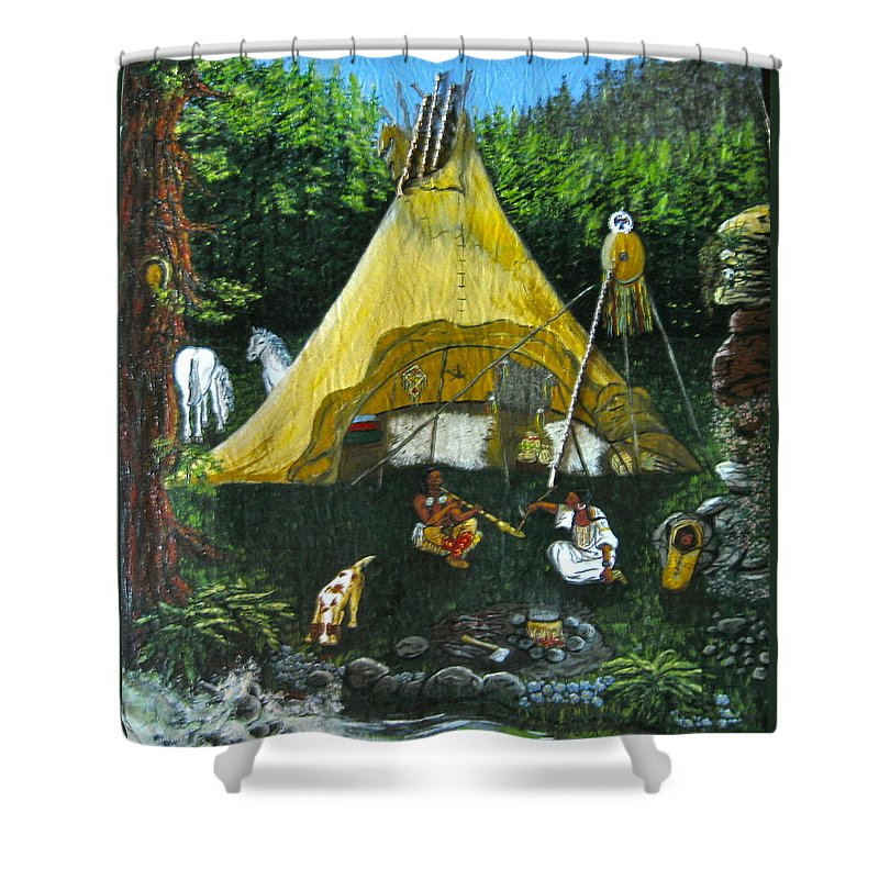 American Indians Shower Curtain featuring the painting Peace Smoke At Sundown by V Boge