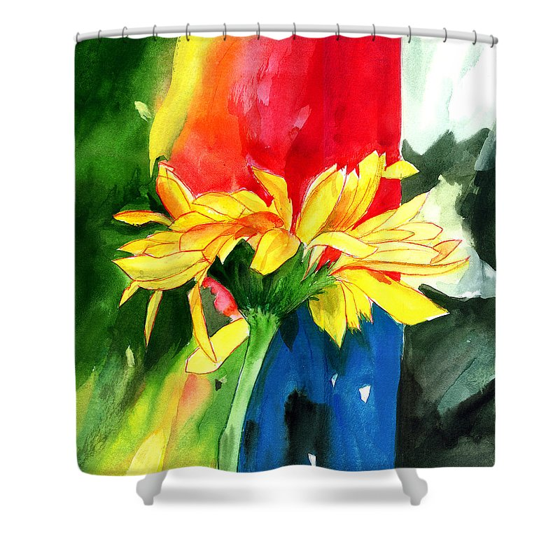 Peace Shower Curtain featuring the painting Peace Square by Anil Nene