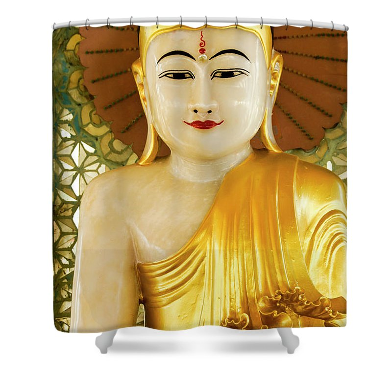 Asia Shower Curtain featuring the photograph Peaceful Buddha by Michele Burgess