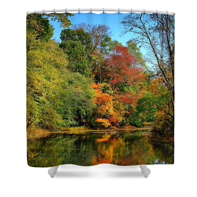 Autumn Shower Curtain featuring the photograph Peaceful Calm - Allaire State Park by Angie Tirado