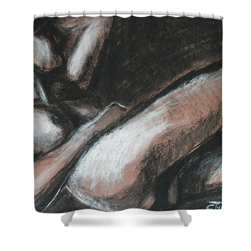 Original Shower Curtain featuring the drawing Peaceful by Carmen Tyrrell