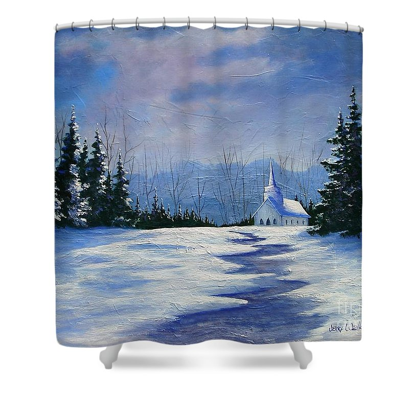 Church Shower Curtain featuring the painting Peaceful Evening by Jerry Walker