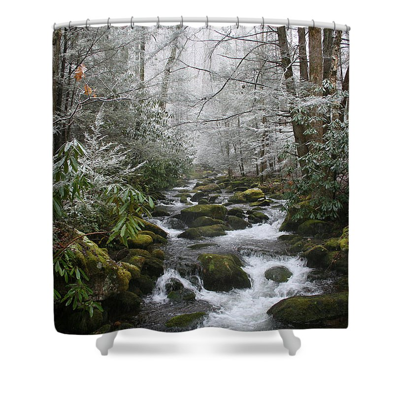 Forest Wood Woods Nature Green White Snow Winter Season Creek River Stream Flow Rock Tree Rush Shower Curtain featuring the photograph Peaceful Flow by Andrei Shliakhau
