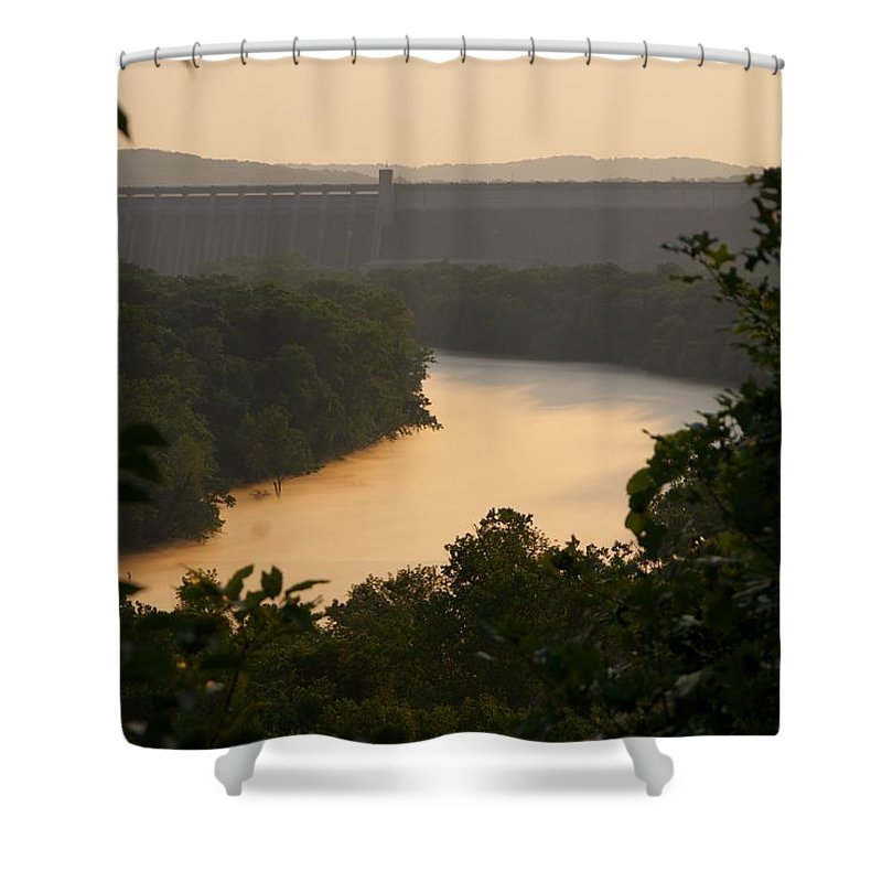 Fog Shower Curtain featuring the photograph Peach fog by Toni Berry
