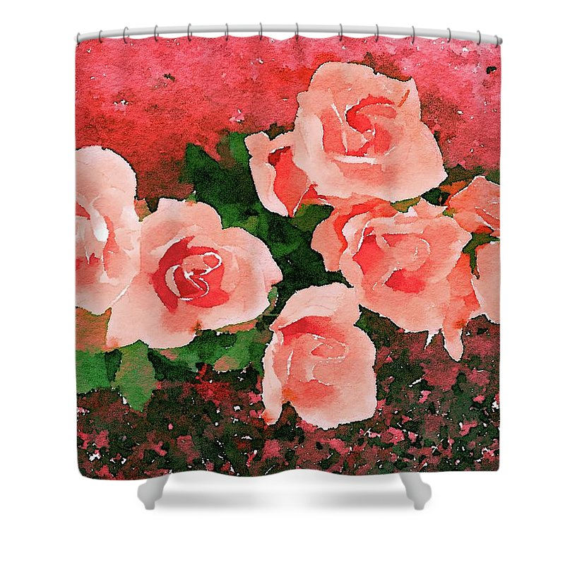 Flowers Shower Curtain featuring the painting Peach Roses by Jamie Holbrook