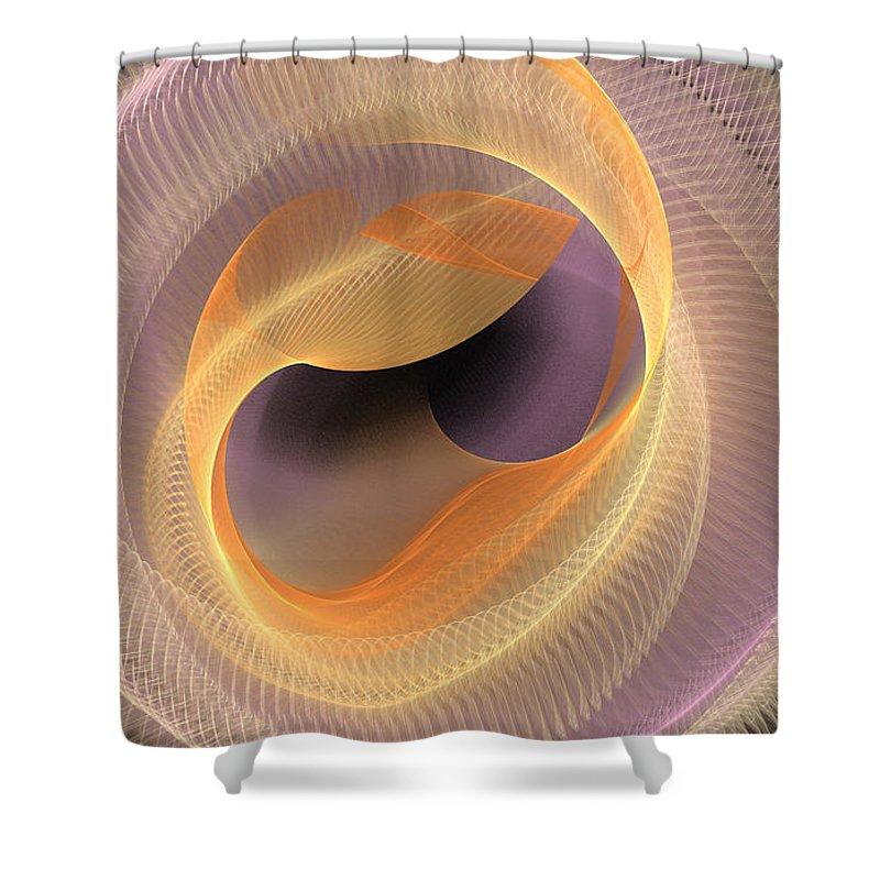 Fractal Shower Curtain featuring the digital art Peaches And Cream by Deborah Benoit