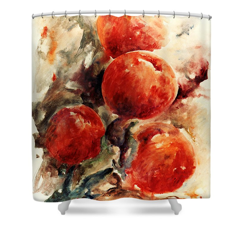 Abstract Shower Curtain featuring the painting Peaches by Rachel Christine Nowicki