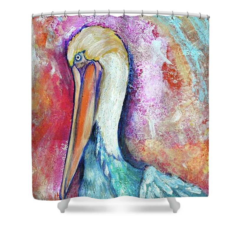 Peacock Envy Shower Curtain featuring the painting Peacock Envy by Debi Starr
