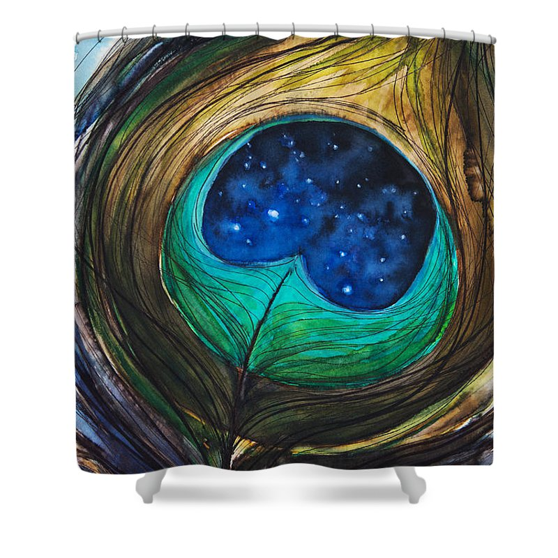 Abstract Shower Curtain featuring the painting Peacock Feather by Tara Thelen