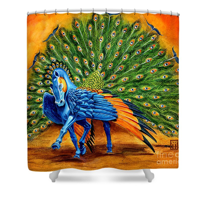 Horse Shower Curtain featuring the painting Peacock Pegasus by Melissa A Benson