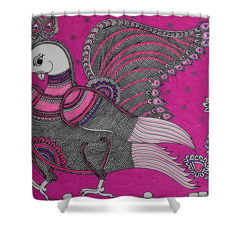 Goddess Lakshmi Shower Curtain featuring the painting Peacock_pink by M Ande
