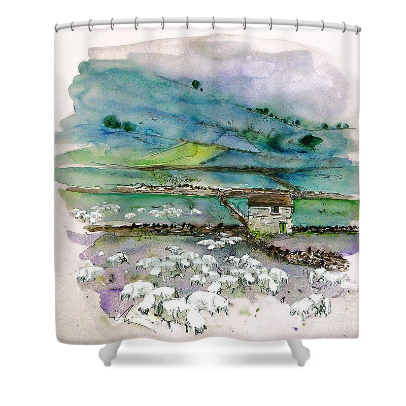 Paintings England Watercolour Travel Sketches Ink Drawings Art Landscape Paintings Town Shower Curtain featuring the painting Peak District Uk Travel Sketch by Miki De Goodaboom