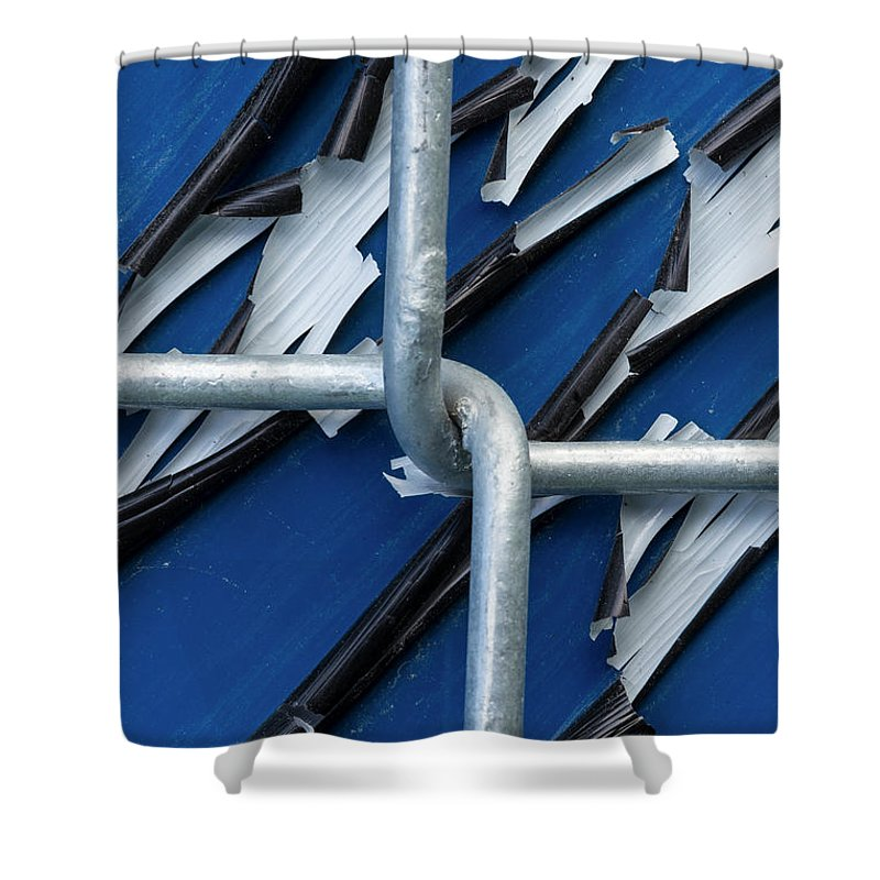 Background Shower Curtain featuring the photograph Pealing Paint Fence Abstract 5 by John Brueske