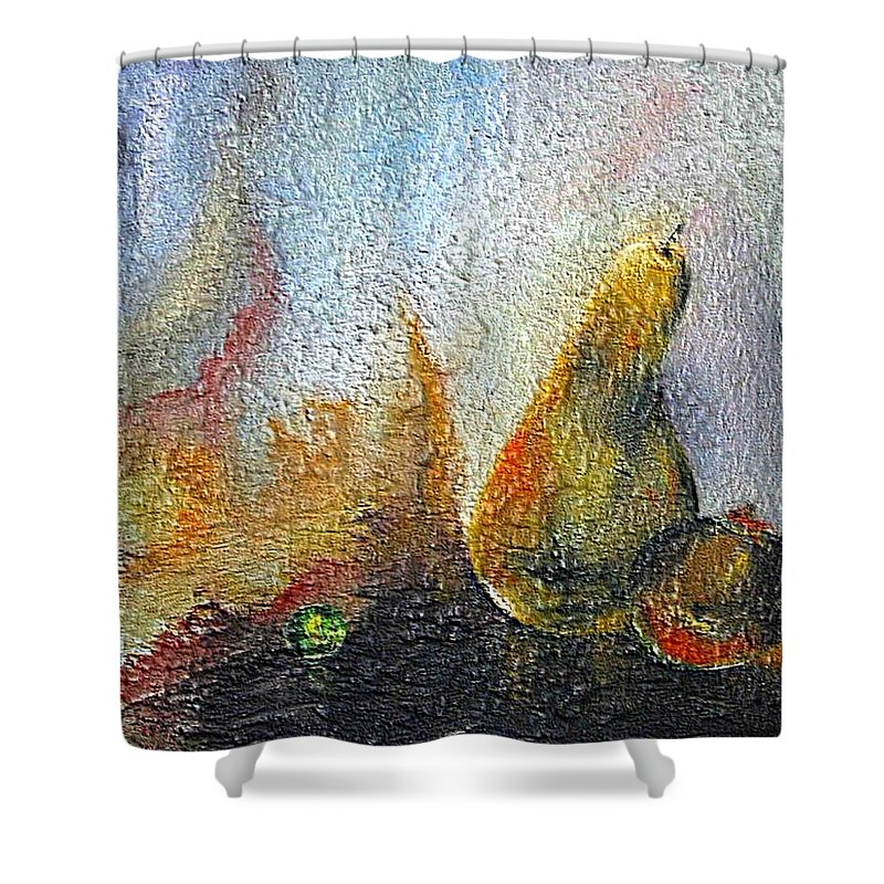 Mixed Media Shower Curtain featuring the mixed media Pear and pearl by Dragica Micki Fortuna