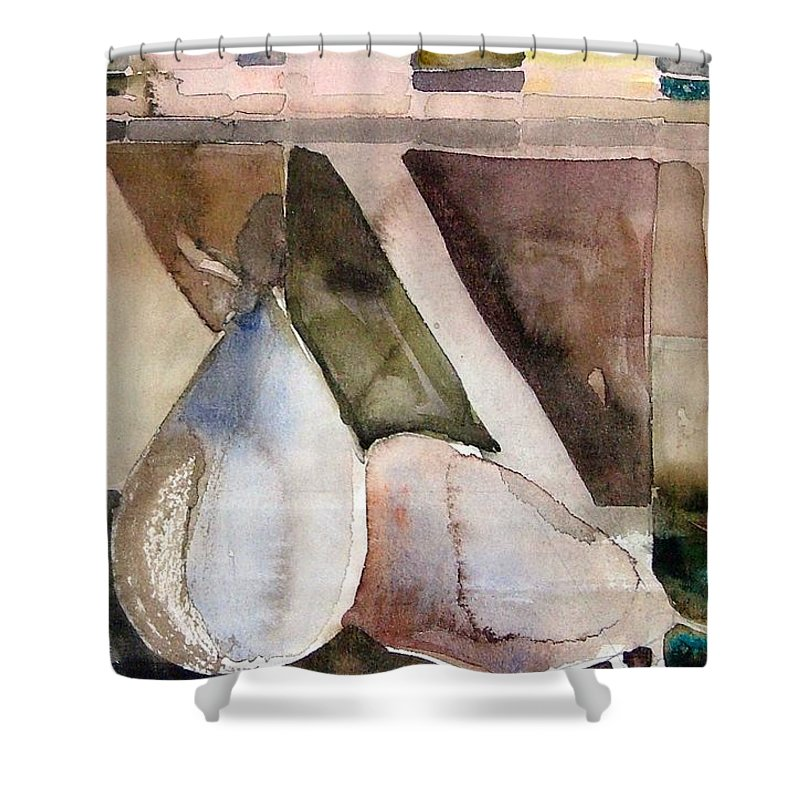 Pear Shower Curtain featuring the painting Pear Study In Watercolor by Mindy Newman