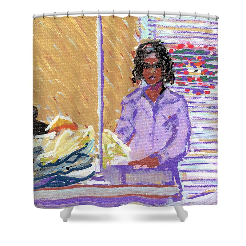 Pearl Shower Curtain featuring the painting Pearl At The Clothes Press by Candace Lovely