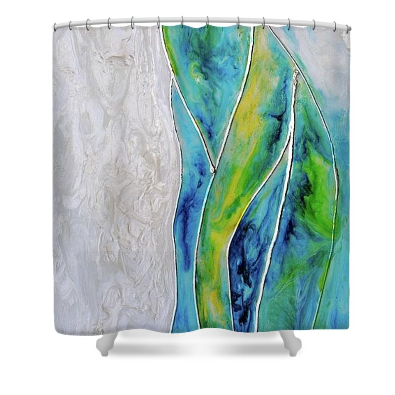 Pearl Falls Shower Curtain featuring the painting Pearl Falls by Debi Starr